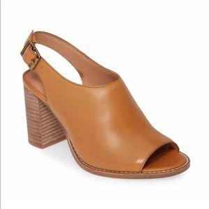 Madewell The Cary peep toe sling back block heels